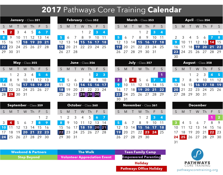 2017 Pathways Core Training Calendar
